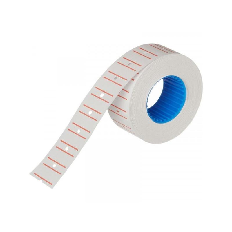 Этикет-лента 21,5х12 мм белая прямоугольная с красной полосой 1000 штук/рулон 10 рулонов/упаковка