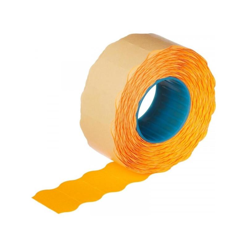 Этикет-лента 22х12 мм оранжевая волна 1000 штук/рулон 10 рулонов/упаковка