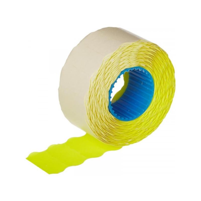 Этикет-лента 26х12 желтая волна 1000 штук/рулон 10 рулонов/упаковка