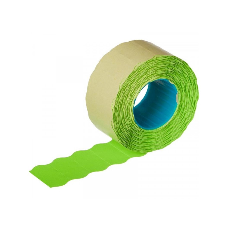 Этикет-лента 26х12 мм зеленая волна 1000 штук/рулон 10 рулонов/упаковка