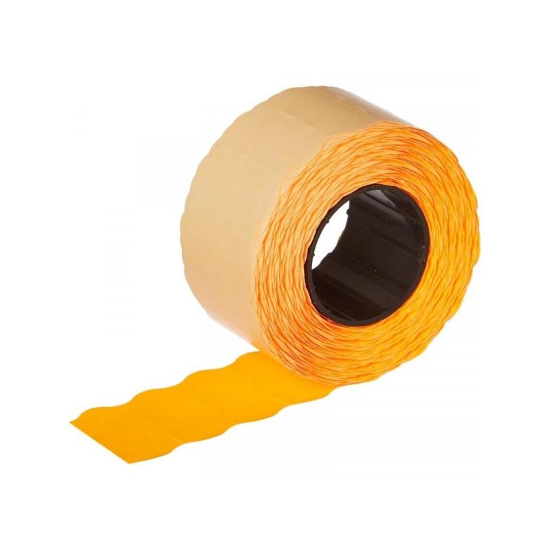 Этикет-лента 26х12 мм оранжевая волна 1000 штук/рулон 10 рулонов/упаковка