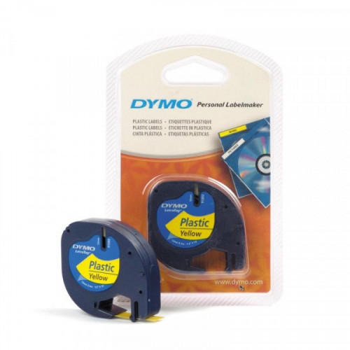Картридж к Label принтеру DYMO LETRA TAG 12 мм х 4 м черный шрифт/желтая лента пластик