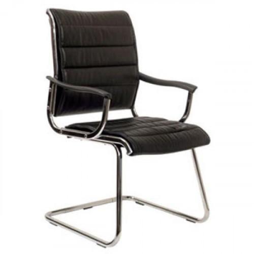 Кресло на полозьях CH-994AV (металлические подлокотники с пластиковыми накладками, черная иск. кожа)