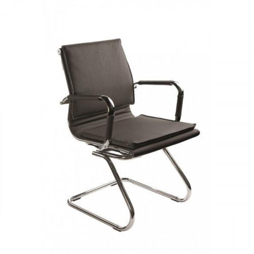 Кресло Бюрократ Ch-993-Low-V black черный искусственная кожа низкая спинка полозья хром