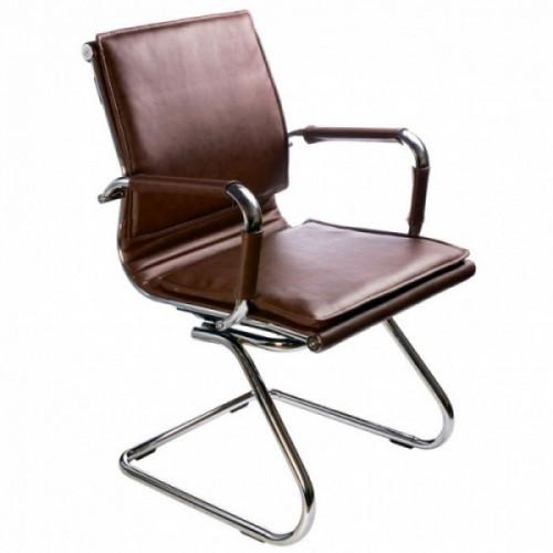 Кресло Бюрократ Ch-993-Low-V brown коричневый иск кожа низкая спинка полозья хром