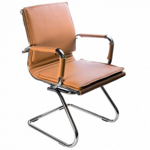 Кресло Бюрократ Ch-993-Low-V camel светло-коричневый иск кожа низкая спинка полозья хром