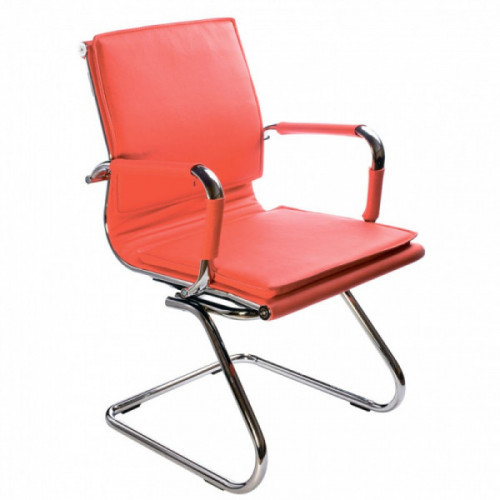 Кресло Бюрократ Ch-993-Low-V red красный искусственная кожа низкая спинка полозья хром