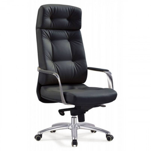 Кресло руководителя Бюрократ DAO/BLACK черный кожа крестовина алюминий