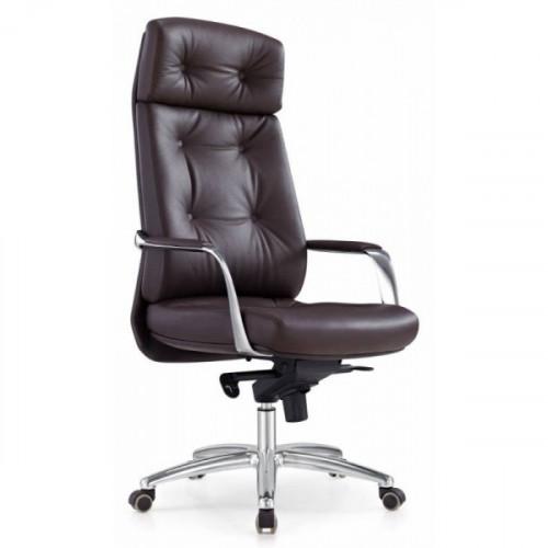 Кресло руководителя Бюрократ DAO/BROWN коричневый кожа крестовина алюминий