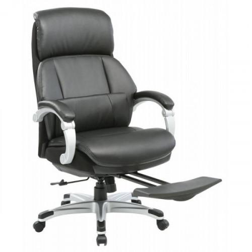Кресло руководителя Бюрократ MIRO/BLACK подставка для ног черный кожа/кожзам