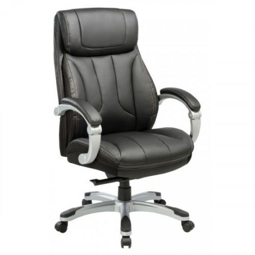 Кресло руководителя Бюрократ T-9921/BLACK черный рециклированная кожа/кожзам (пластик серебро)