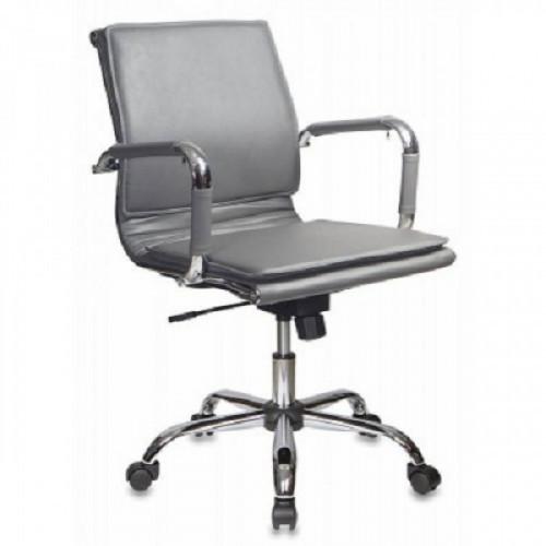 Кресло руководителя Бюрократ CH-993-Low/grey низкая спинка серый искусственная кожа крестовина хром