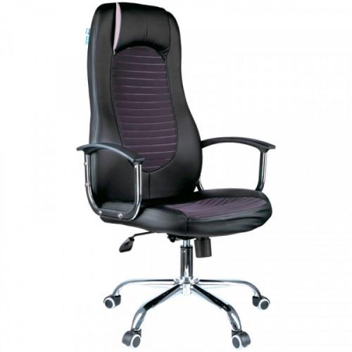 """Кресло руководителя Helmi HL-E93 """"Fitness"""", экокожа черная/ткань S серая, хром, мех. качания """"Люкс"""""""