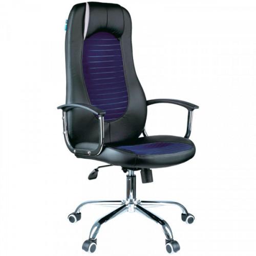"""Кресло руководителя Helmi HL-E93 """"Fitness"""", экокожа черная/ткань S синяя, хром, мех. качания """"Люкс"""""""