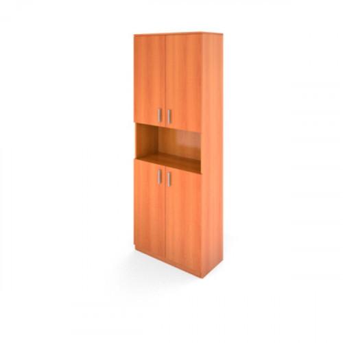 Стеллаж высокий с двумя комплектами низких дверей с размерами 710х380х1920 Авантаж цвета Миланский Орех двери в комплекте
