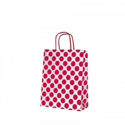 Пакеты из крафт-бумаги Сумка Горохи красные 32х12х42 см
