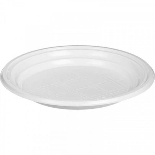 Тарелка одноразовая d 205 мм белая ПС 100 шт