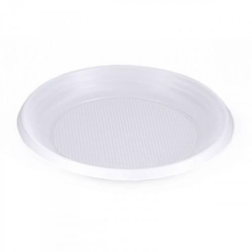 Тарелка одноразовая пластиковая белая с диаметром 170 мм 100 штук в упаковке