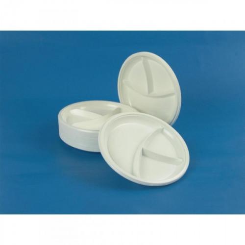 Тарелка одноразовая пластиковая белая 3-секционная диаметр 210 мм 100 штук в упаковке