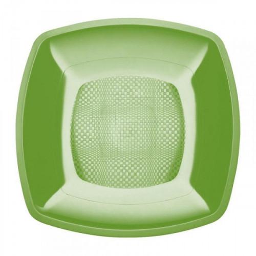 Тарелка одноразовая пластиковая салатового цвета с размером 180 мм 6 штук в упаковке