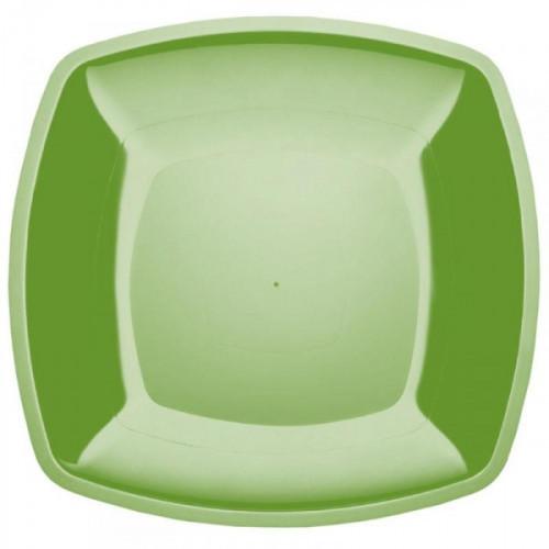 Тарелка одноразовая пластиковая салатовая с размером 180 мм 6 штук в упаковке