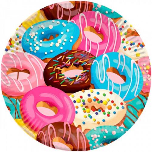 """Тарелки бумажные ламинированные ПатиБум """"Пончики"""", 18см, 6шт., еврподвес"""