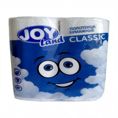 Полотенца бумажные 2-слойные JOY Эко белые 2 рулона, 12.5м, смесь 100% целлюлоза и вторичное волокно