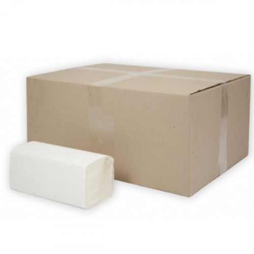 Полотенца бумажные 1-слойные, лист, 250лист, 23*21,5см, V(ZZ)-слож, целлюлоза, белый, Терес Стандарт, 25 гр/м, 20пач/упак