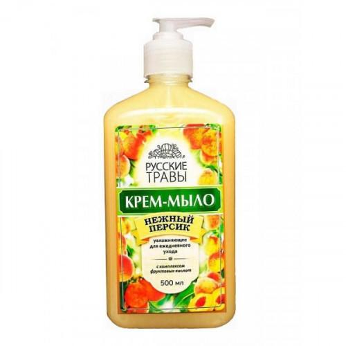 Крем-мыло жидкое Русские травы 500 мл с дозатором ассорти персик ромашка мандарин