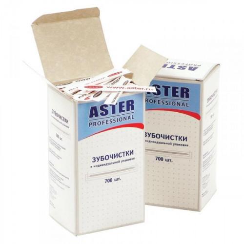 Зубочистки деревянные Aster Professional в отдельных бумажных упаковках 700 штук