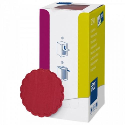 Подставки бумажные под чашки Tork 474469 8-слойные 9x9 см бордовые с тиснением 250 штук в упаковке