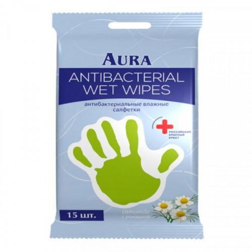 Салфетки влажные AURA антибактериальные РОМАШКА 15 штук