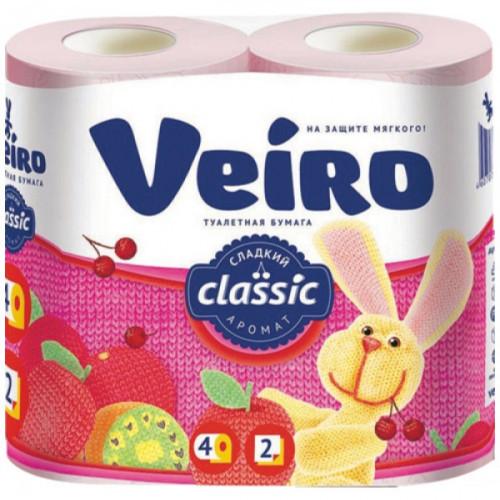 Бумага туалетная Veiro Classic 2-слойная розовая 4 рулона в упаковке