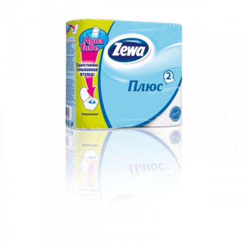 Бумага туалетная Zewa Plus 2-слойная белая по 4 рул/уп
