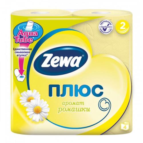 Бумага туалетная Zewa Plus 2-слойная желтая по 4 рул/уп