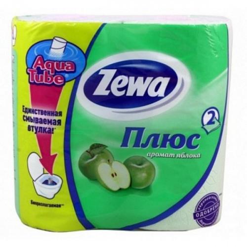 Бумага туалетная Zewa Plus 2-слойная зеленая по 4 рул/уп