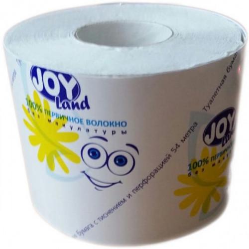 Бумага туалетная 1-слойная Joy Land белая 54м на втулке с перфорацией и тиснением, вторичное волокно