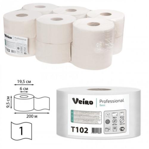 Туалетная бумага Veiro Professional Basic белая 1-слойная в средних рулонах 200 м 12 рул/уп