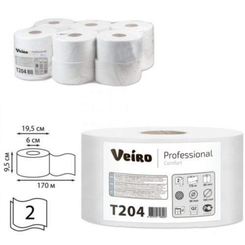 Туалетная бумага Veiro Professional Comfort рулонная белая 2-слойная в средних рулонах 170 м 12 рул/уп