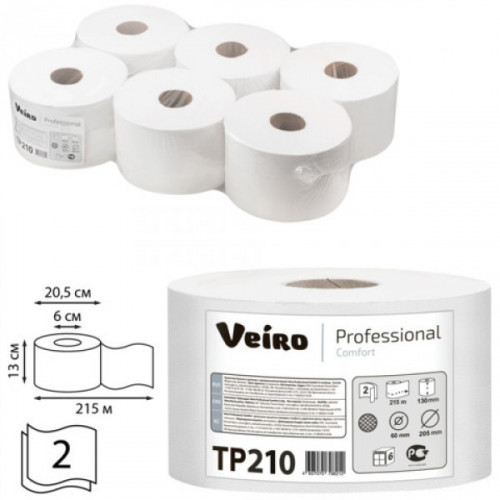 Туалетная бумага Veiro Professional Comfort рулонная белая 2-слойная с центральной вытяжкой 215 м 6 рул/уп
