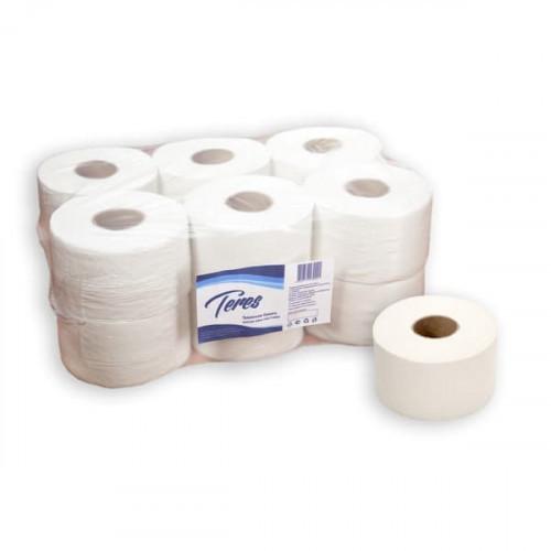 Туалетная бумага 1-слойная в средних рулонах 300 метров Терес Эконом (12 рулонов в упаковке)