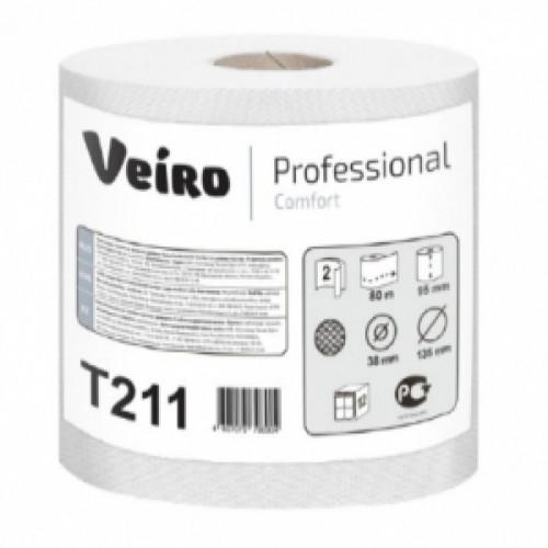 Туалетная бумага белая 2-слойная в малых рулонах (ОМ) 80м Veiro Professional Comfor (12 рулонов в упаковке)