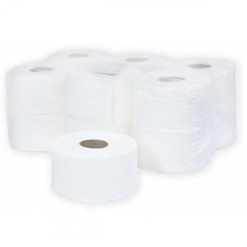 Туалетная бумага 2-слойная, 9,5cм, 180м/рул, белая, d втулки 60 мм, целлюлоза, тиснение, Терес Комфорт midi, 12 рул/упак