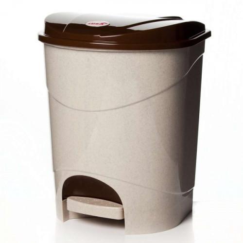 Ведро для мусора с педалью 7 литров бежевый мрамор