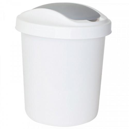Ведро мусорное 12 л, платиковое с педалью круглое, с крышкой, Svip Ориджинал белое