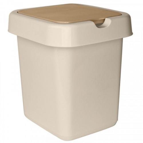 Ведро мусорное 14 л, платиковое прямоугольное, с крышкой, Svip Квадра бежевое