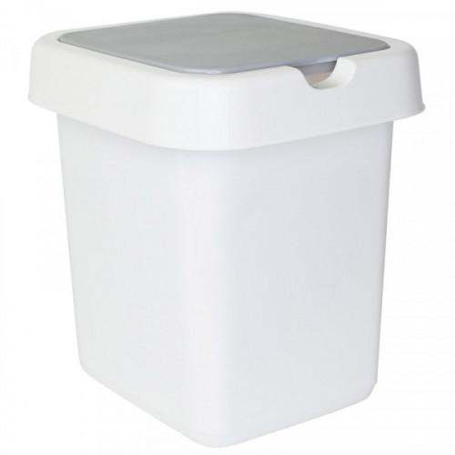 Ведро мусорное 14 л, платиковое прямоугольное, с крышкой, Svip Квадра белое