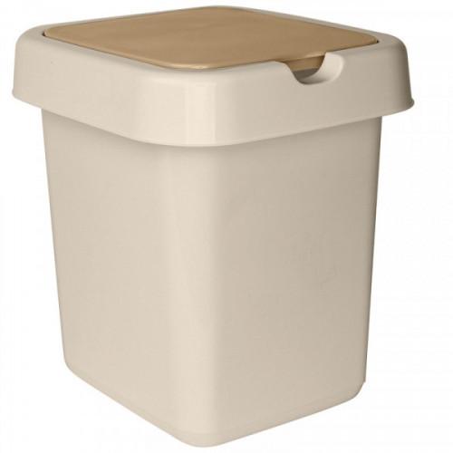 Ведро мусорное 25 л, платиковое прямоугольное, с крышкой, Svip Квадра бежевое