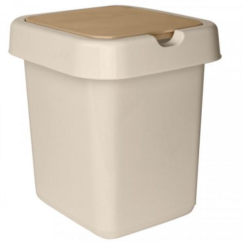 Ведро мусорное 9 л, пластиковое прямоугольное Svip Квадра, бежевое