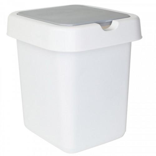 Ведро мусорное 9 л, пластиковое прямоугольное, с крышкой, Svip Квадра белое